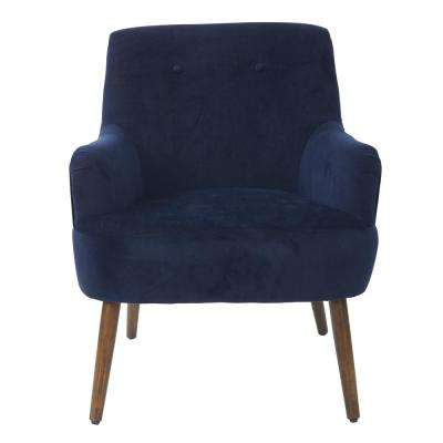 Chatou Blue Chair In Midnight Fabric With Cordovan Legs