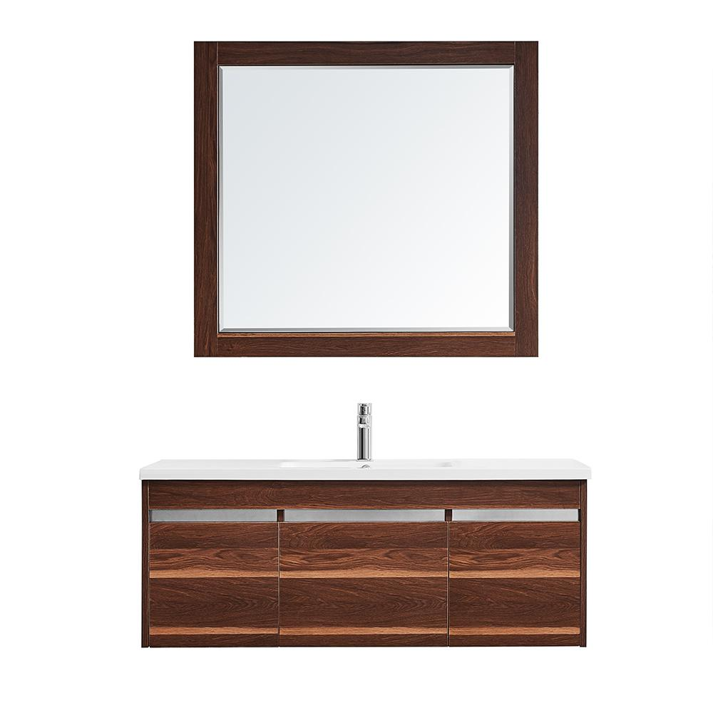 ROSWELL Thomas 48 in. W x 18 in. D Bath Vanity in Walnut with Quartz Vanity Top in White with White Basin and Mirror