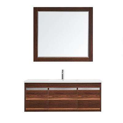 Thomas 48 in. W x 18 in. D Bath Vanity in Walnut with Quartz Vanity Top in White with White Basin and Mirror