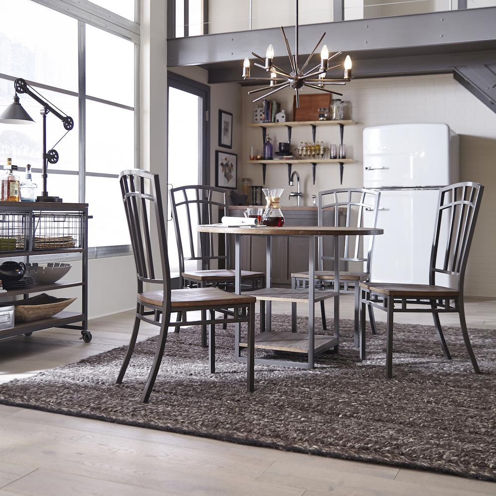 Details About Gray Dining Chair Seat Side Industrial Wood Farmhouse Metal Frame Back 2 Set