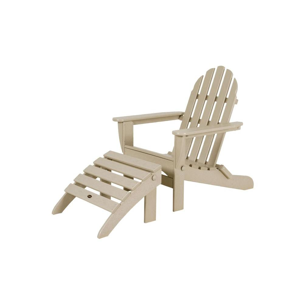Classic Sand Plastic Patio Adirondack Chair