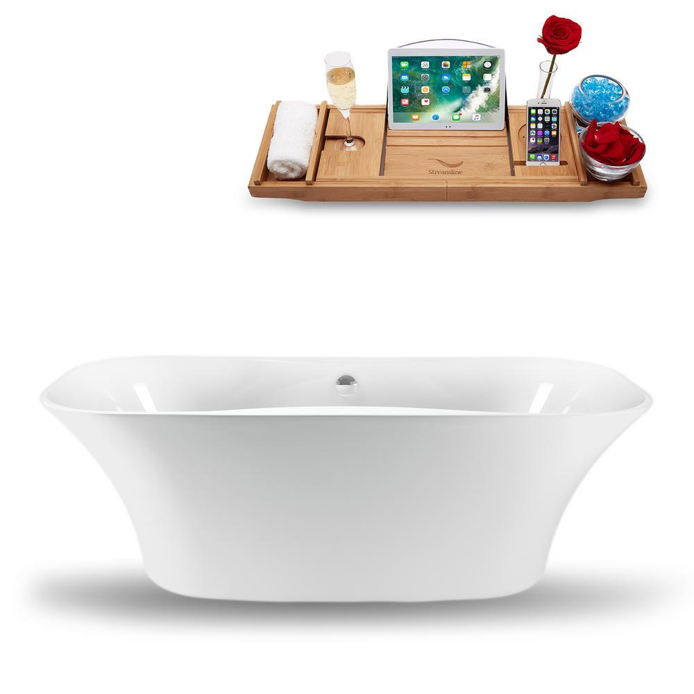 Streamline 59.1 in. Acrylic, Fiberglass Flatbottom Non-Whirlpool Bathtub in Glossy White