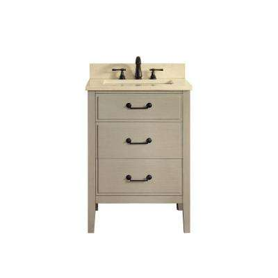 Delano 25 in. W x 22 in. D x 35 in. H Vanity in Taupe Glaze with Marble Vanity Top in Galala Beige with White Basin