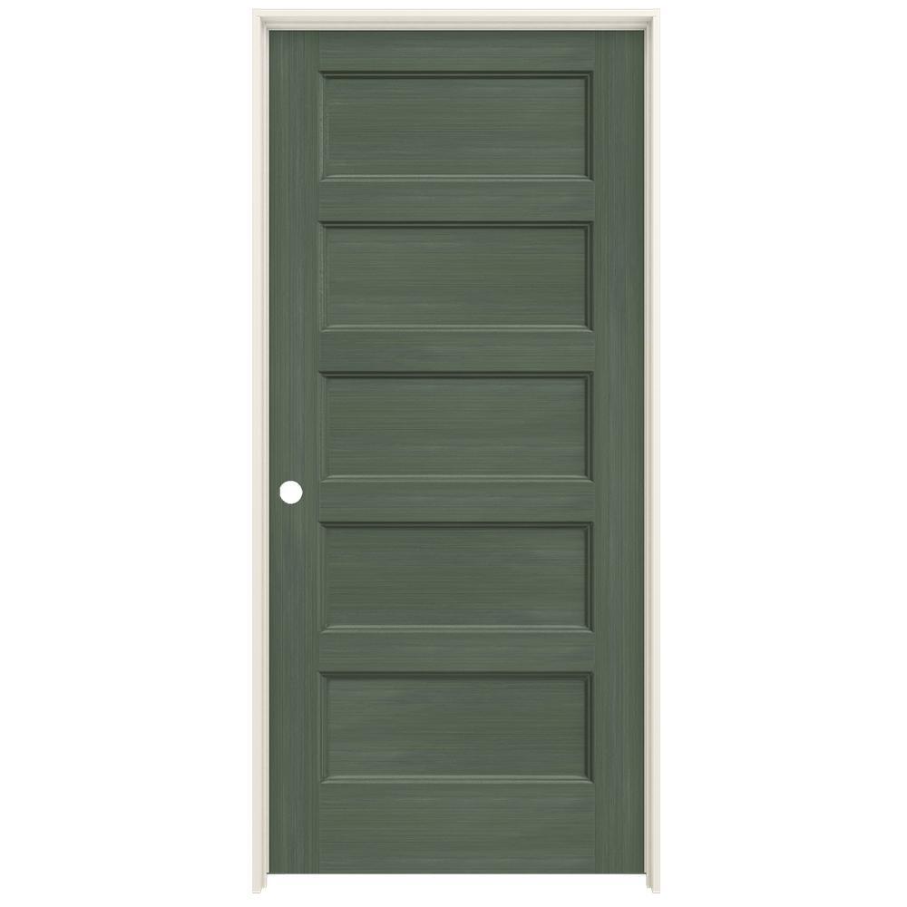 JELD-WEN 36 in  x 80 in  Conmore Juniper Stain Smooth Solid Core Molded  Composite Single Prehung Interior Door