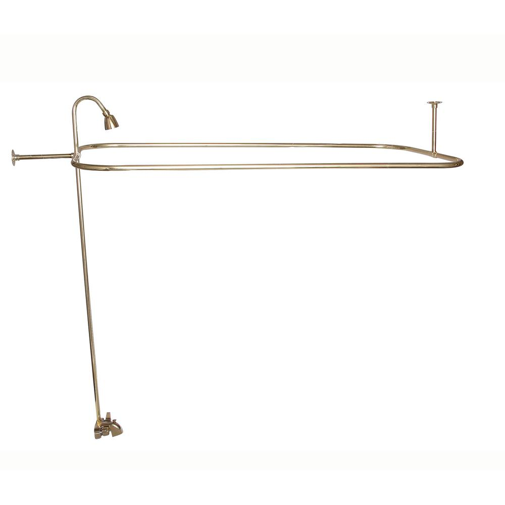 Pegasus 2-Handle Claw Foot Tub Faucet with Riser, 54 in. Rectangular Shower Ring and Showerhead in Polished Brass