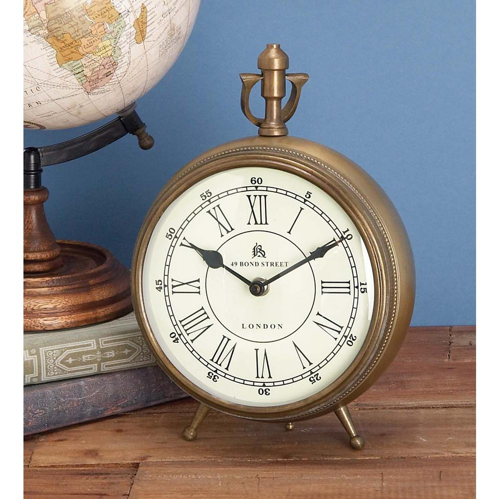 13 in. x 10 in. Brass coated Aluminum Round Table Clock