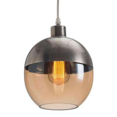 Trente 9.8 in. Satin and Amber Ceiling Lamp