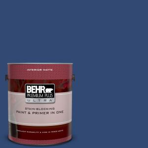 1 gal. #S-H-580 Navy Blue Matte Interior Paint and Primer in One