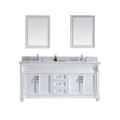Victoria 72 in. W x 36 in. H Vanity with Marble Vanity Top in Carrara White with White Round Basin and Mirror