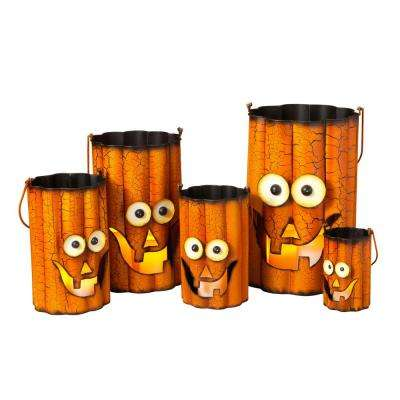 29.25 in. Wavy Metal Pumpkin Halloween Luminaries (Set of 5)