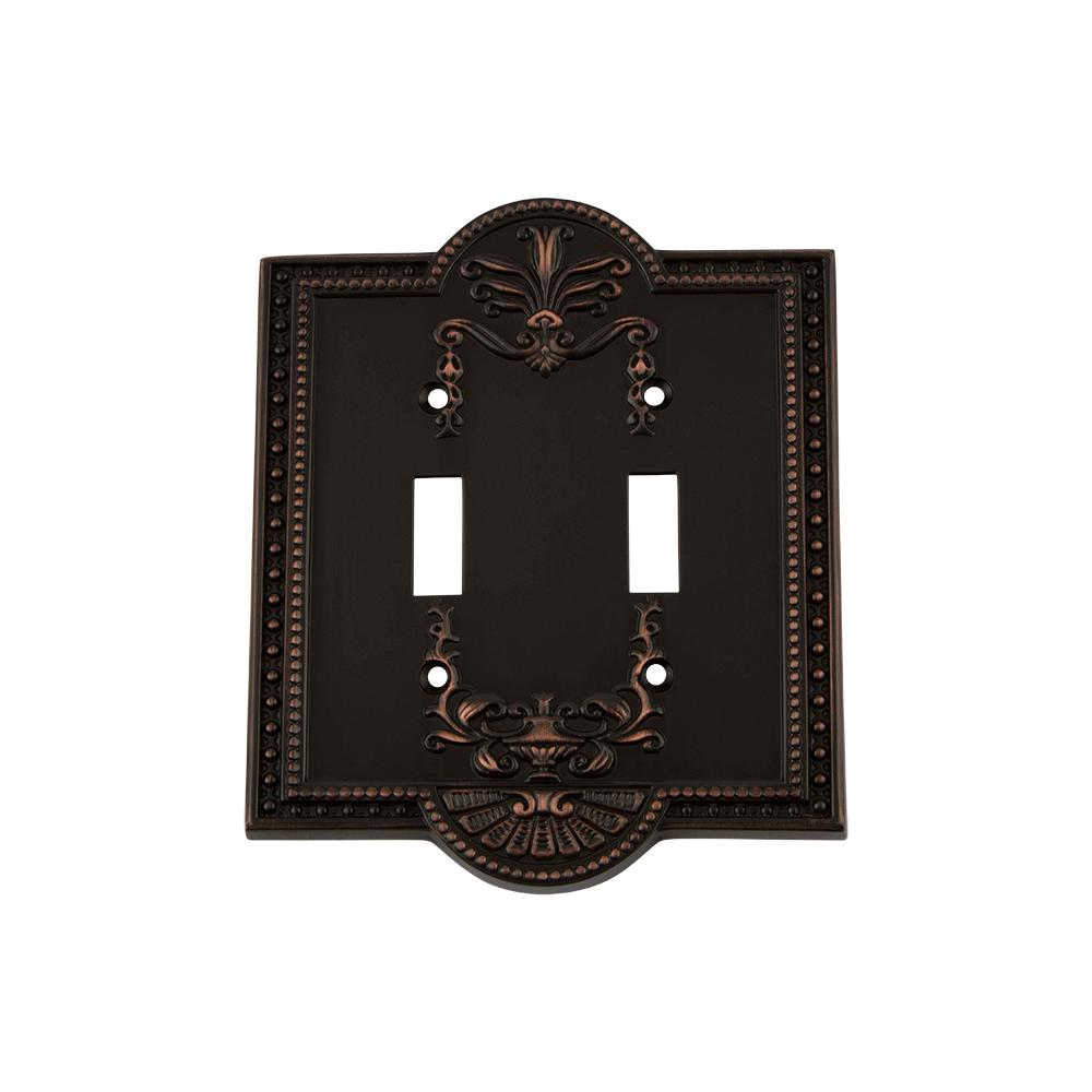 Meadows Switch Plate with Double Toggle in Timeless Bronze
