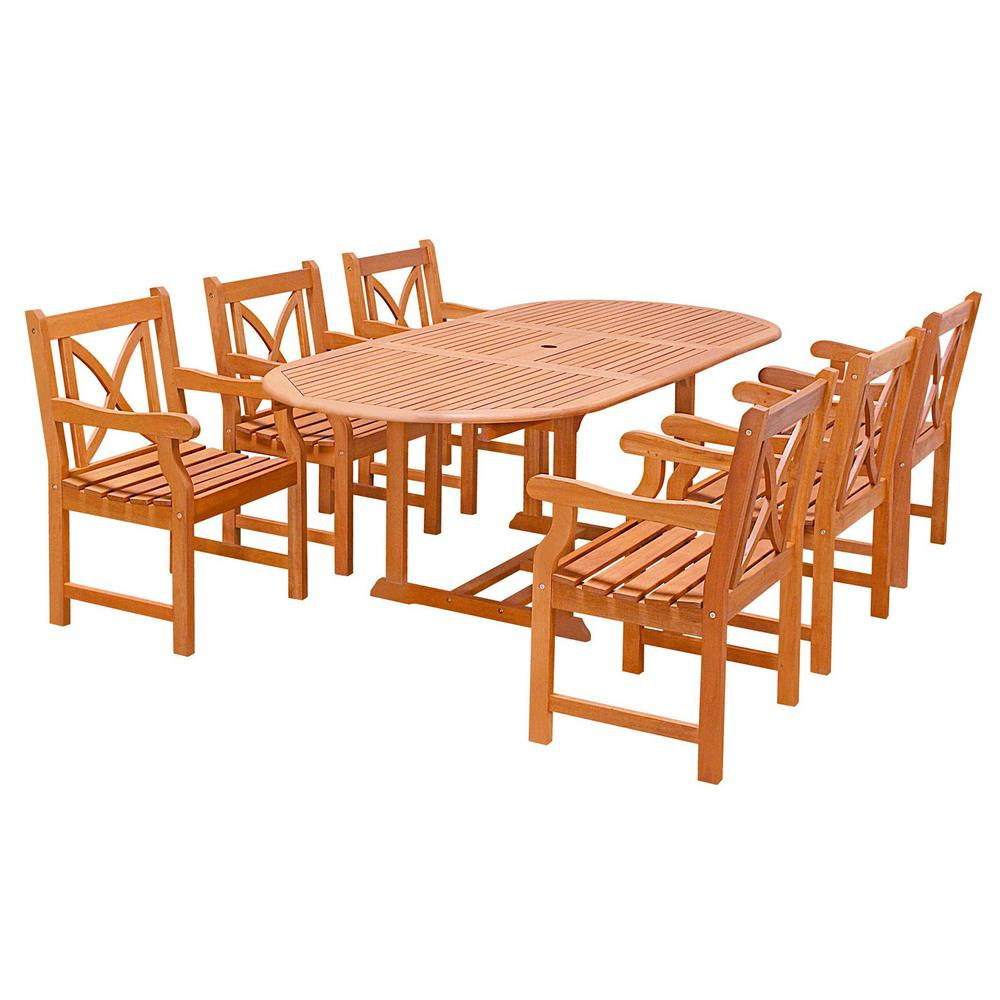outdoor dining sets vifah malibu 7 wood oval outdoor dining set 28856