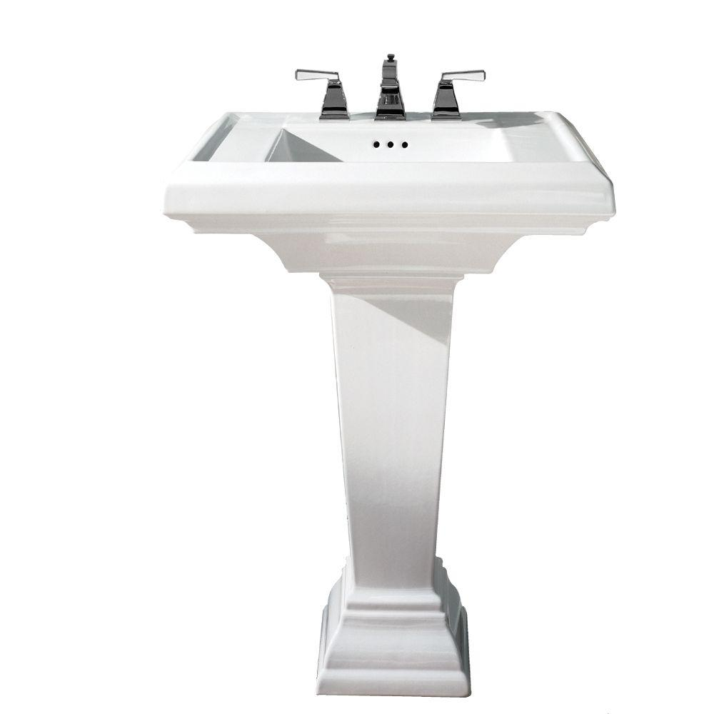 American Standard Town Square Pedestal Combo Bathroom Sink With 8 In Faucet Centers White
