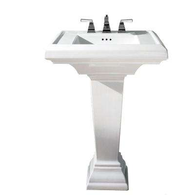 Town Square Pedestal Combo Bathroom Sink with 8 in. Faucet Centers in White