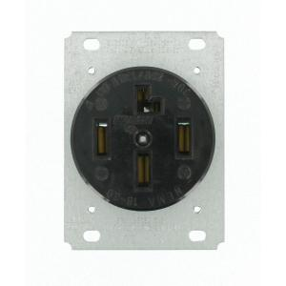 30 amp 120/208-volt flush mounting non-grounding single outlet, black