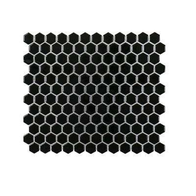 Black Out 10.125 in. x 11.625 in. x 6 mm Porcelain Mosaic Tile