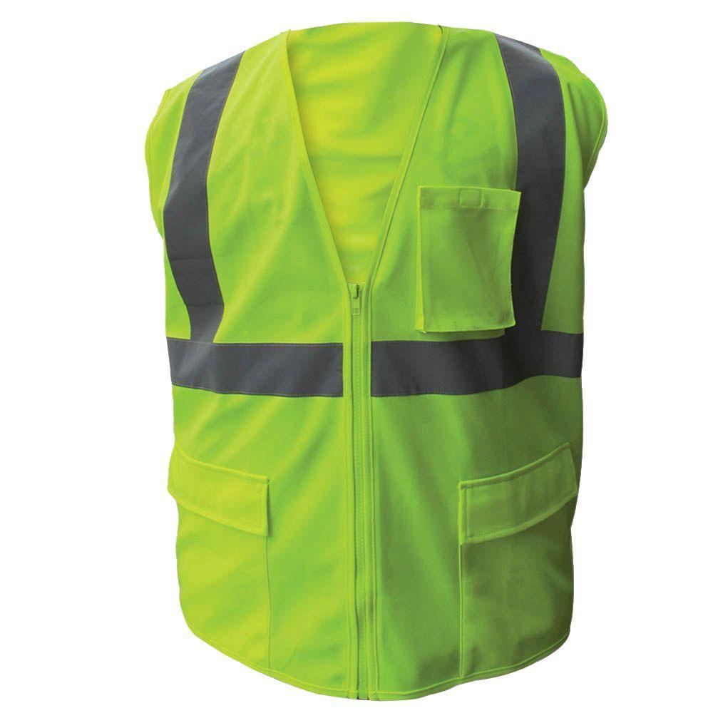 Size Extra-Large Lime ANSI Class 2 Fire Retardant Poly Mesh Safety Vest