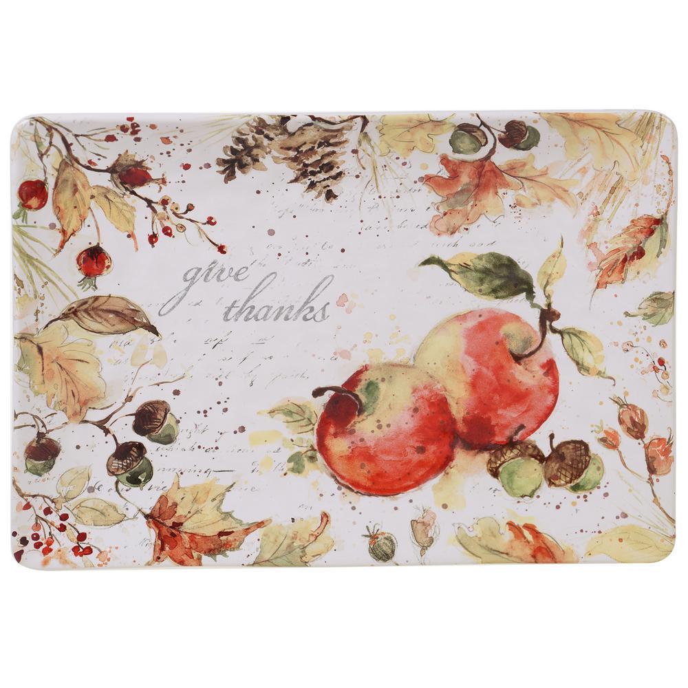Harvest Splash Multi-Colored 14 in  Rectangular Platter