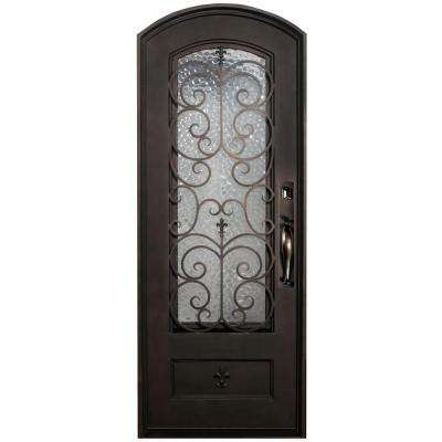 46 in. x 97.5 in. Orleans Classic 3/4-Lite Painted Oil Rubbed Bronze Wrought Iron Prehung Front Door