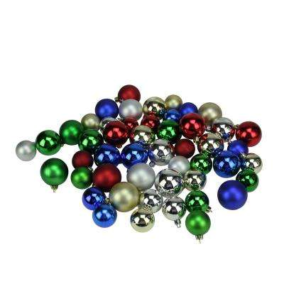1.5 in. - 2 in. Traditional Multi-Color Shiny and Matte Shatterproof Christmas Ball Ornaments (50-Count)