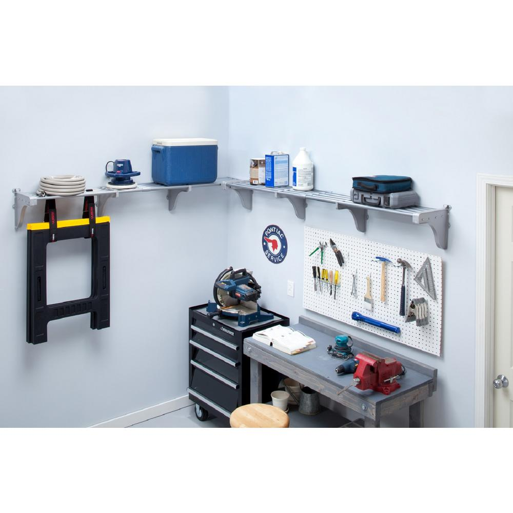 40 in. - 75 in. Metal 2-Expandable Garage Shelf in Silver