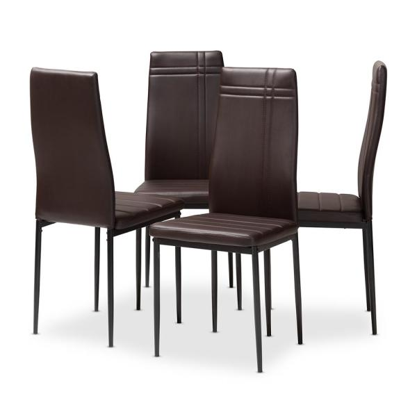 08f7de6f1f Baxton Studio Matiese Dark Brown Faux Leather Upholstered Dining Chair (Set  of 4)