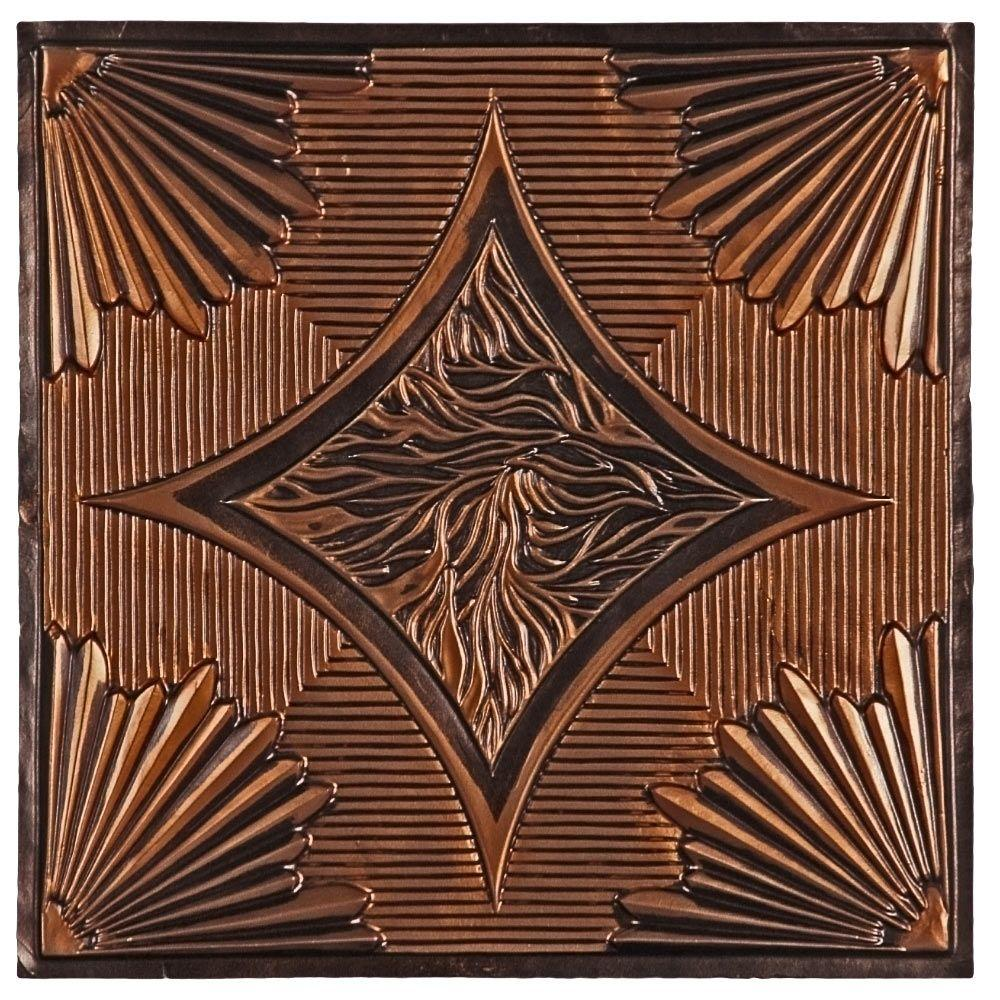 uDecor Burbank 2 ft. x 2 ft. Lay-in or Glue-up Ceiling Tile in Antique Copper (48 sq. ft. / case)
