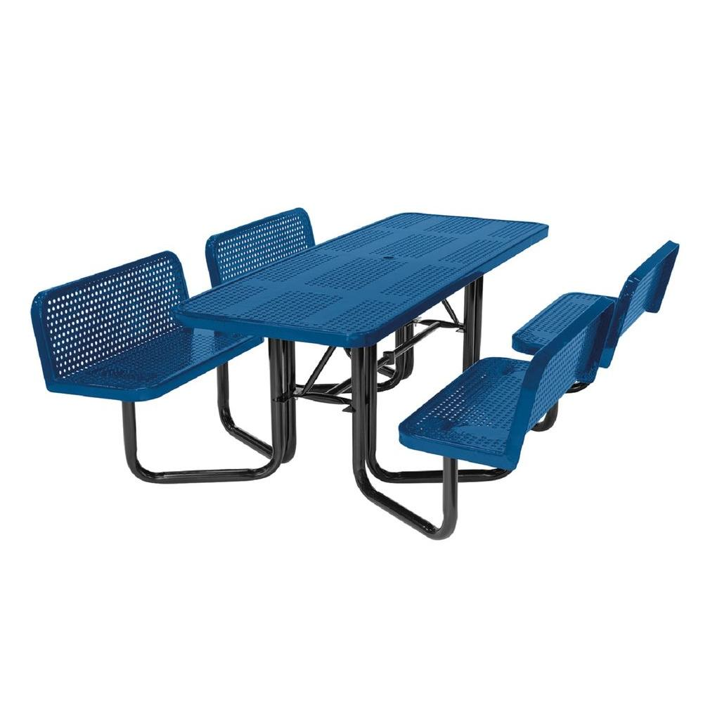 Pleasing Suncast Commercial Split Bench Perforated Blue Picnic Table Machost Co Dining Chair Design Ideas Machostcouk