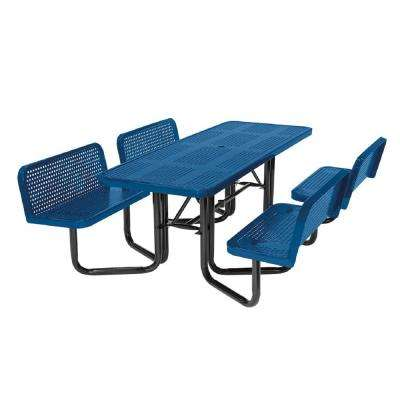 Split Bench Perforated Blue Picnic Table