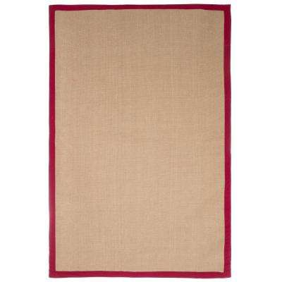 Jute Burgundy Border 5 ft. x 8 ft. Area Rug