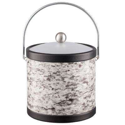 Amerillo Silver Stone 3 Qt. Gray Ice Bucket with Bale Handle and Acrylic Lid