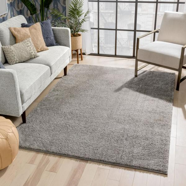 Well Woven Rainbow Chroma Glam Solid Light Grey 5 Ft 3 In X 7 Ft 3 In Multi Textured Shimmer Pile Shag Area Rug Ra 17 5 The Home Depot