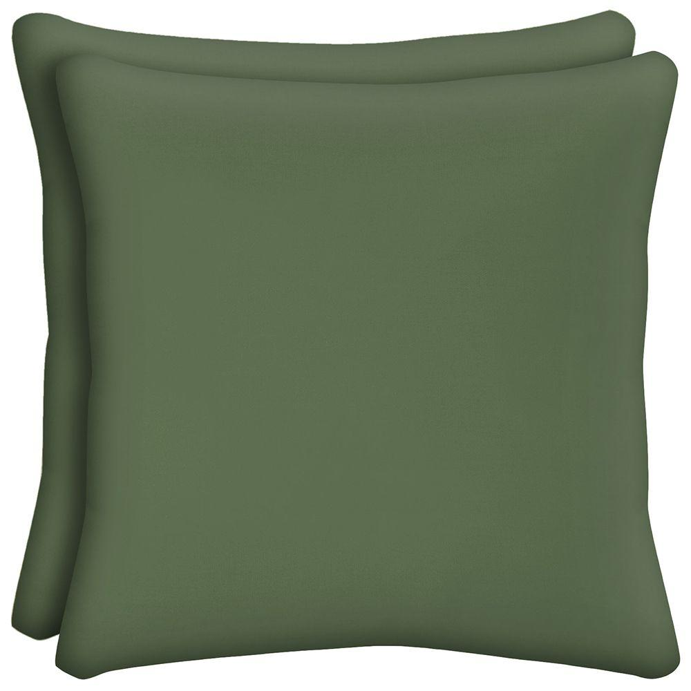 Hampton Bay Moss Solid Square Outdoor Throw Pillow (2-Pack)