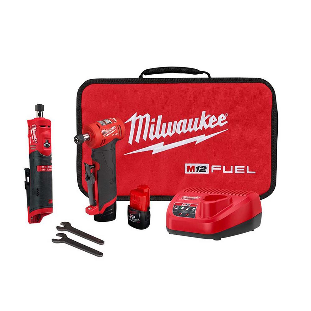 Milwaukee M12 FUEL 12-Volt Lithium-Ion Brushless Cordless 1/4 in. Right Angle & Straight Die Grinder Kit with (2) 2.0Ah Batteries