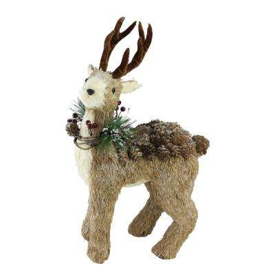 16 in. Shimmering Reindeer Wearing Frosted Wreath Christmas Table Top Decoration