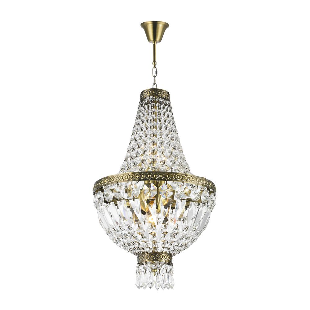 Worldwide Lighting Metropolitan Collection 5-Light Antique Bronze and Clear Crystal Chandelier