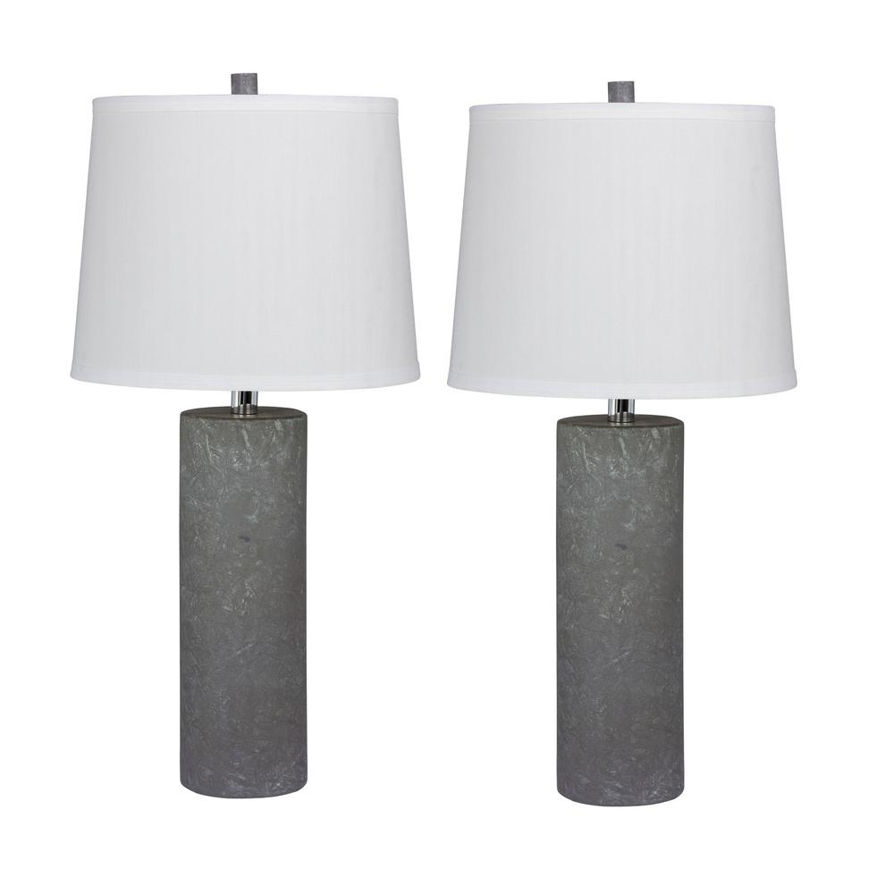 fbcd5b48d738 Fangio Lighting Pair of 26 in. Contemporary Column Ceramic Table Lamps in a  Gray