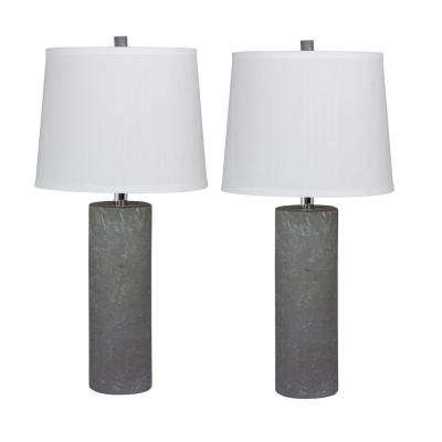 Pair of 26 in. Contemporary Column Ceramic Table Lamps in a Gray