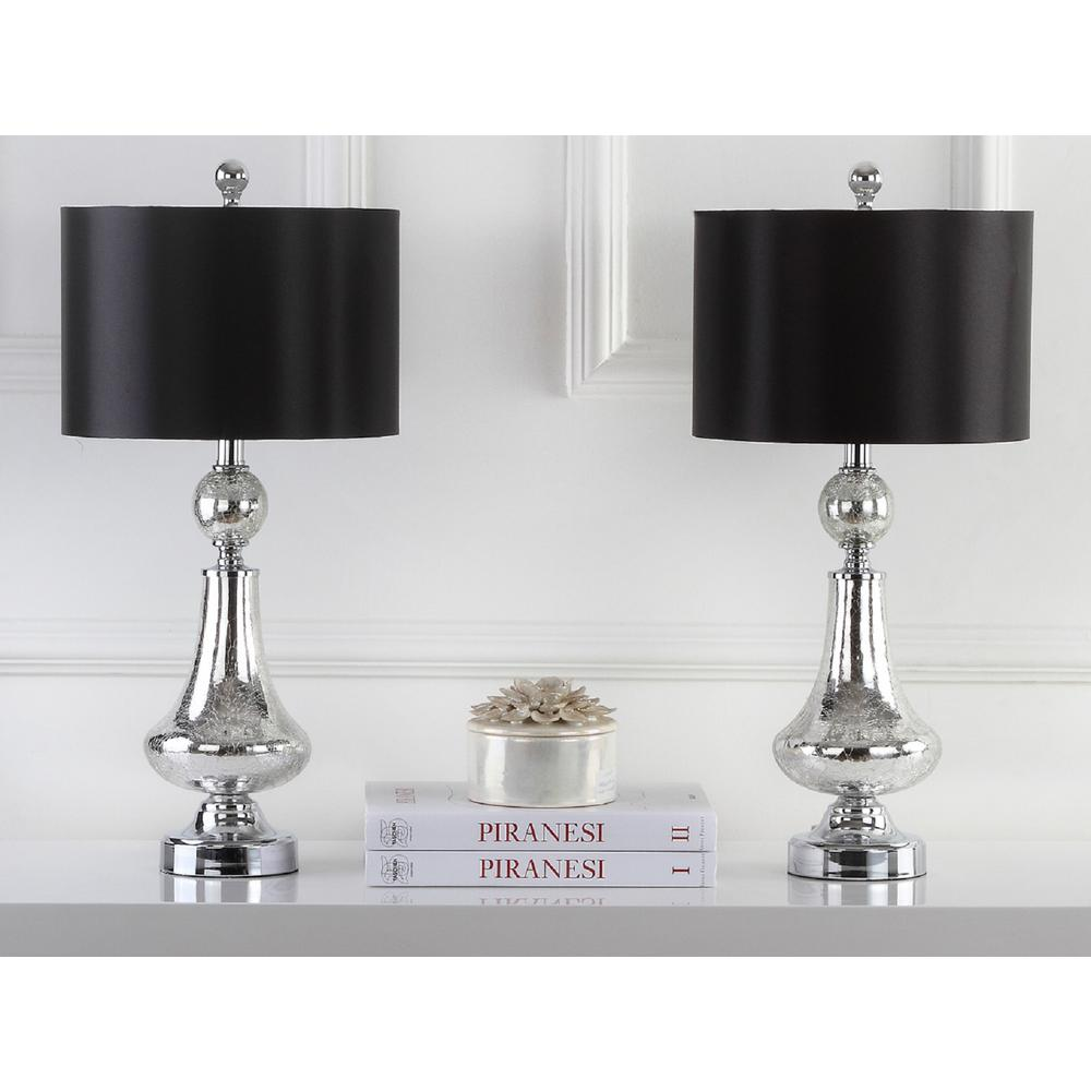 Merveilleux Ivory/Silver Crackle Glass Table Lamp (Set Of 2