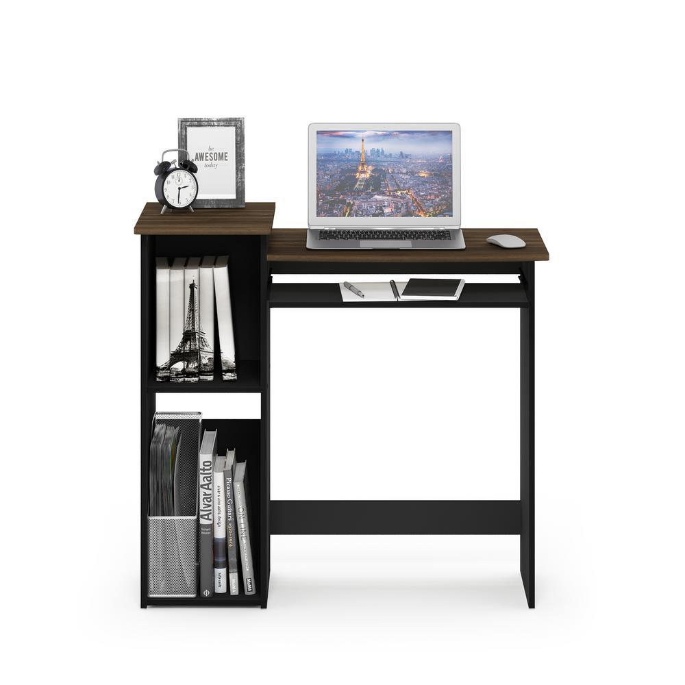 33 in. Rectangular Walnut Computer Desk with Keyboard Tray
