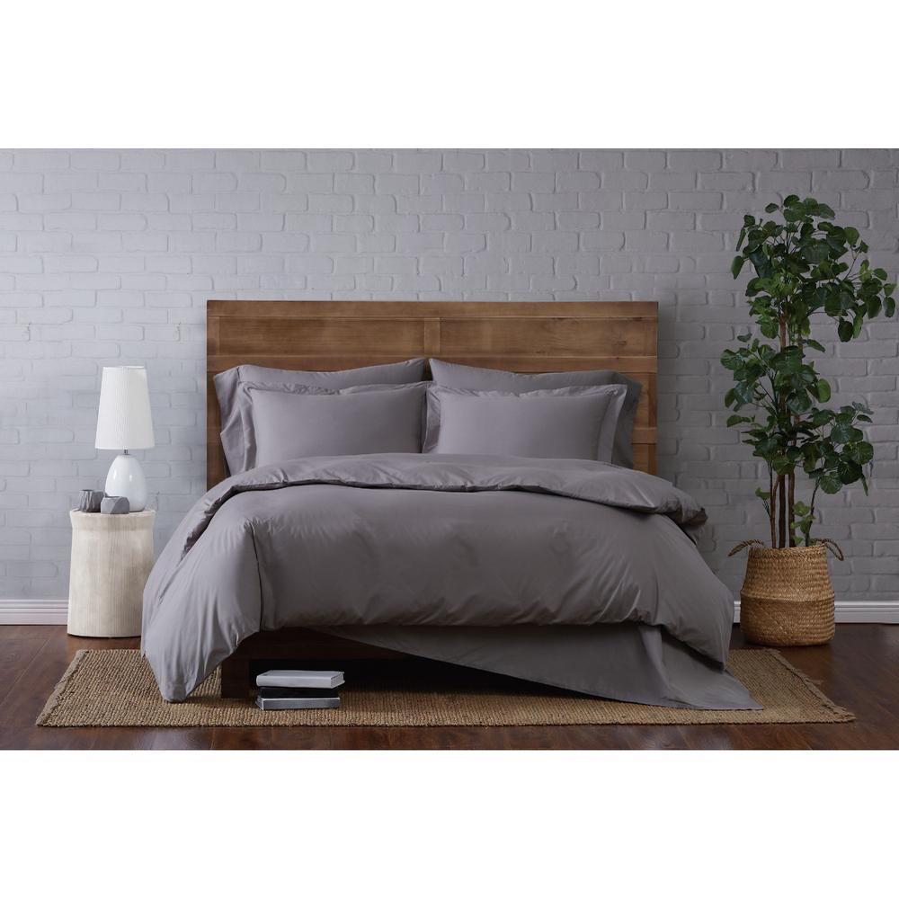 Brooklyn Loom Classic 3-Piece Cotton Grey Full/Queen Duvet Set