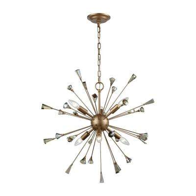 Sprigny 6-Light Matte Gold with Amber Teak Crystal Chandelier