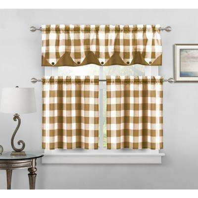 Kingdy Taupe Kitchen Curtain Set - 56 in. W x 14 in. L in (3-Piece)