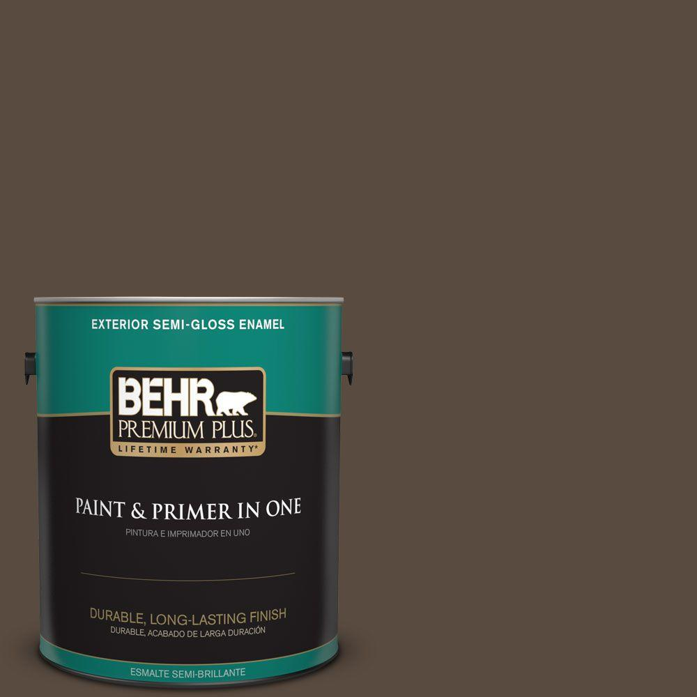 1 gal. #HDC-FL15-05 Warm Pumpernickel Semi-Gloss Enamel Exterior Paint