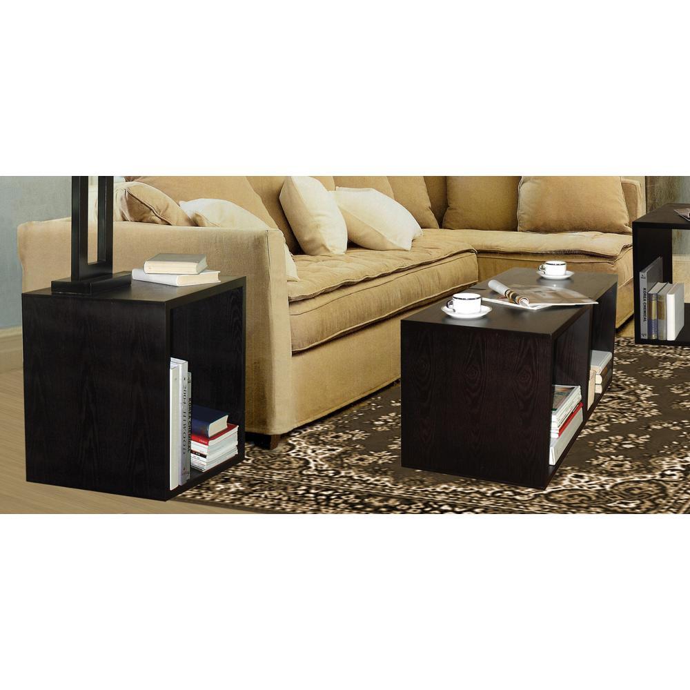 Ebony Decorative Wood Storage Floor Cube (Set of 2)