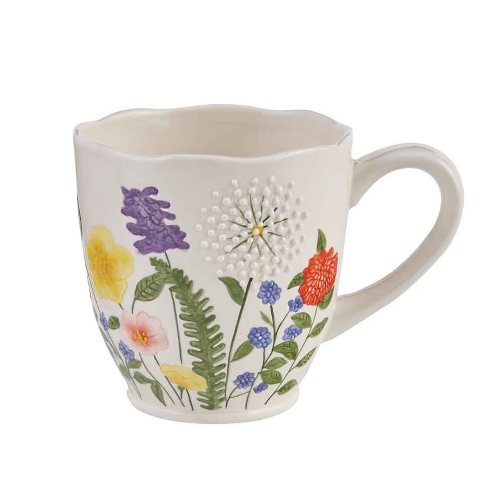Garden Flower 16 oz. White Ceramic Coffee Mug (Set of 4)