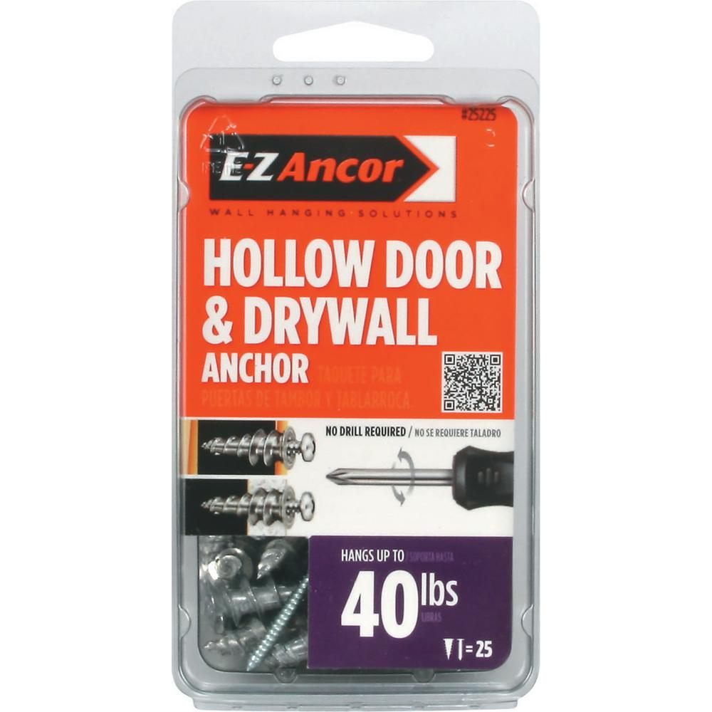 E Z Ancor 1 In Hollow Door And Drywall Anchors 25 Pack