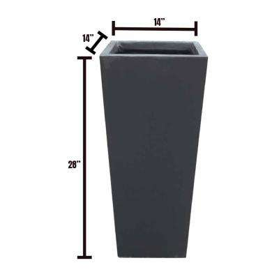 14 in. x 14 in. x 28 in. Black Lightweight Concrete Modern Tapered Rectangle Planter
