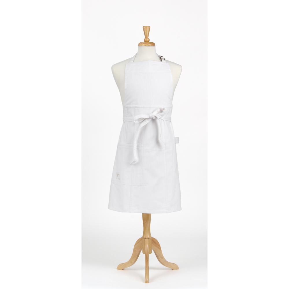 White Denim Bib Apron and Chef's Hat Set