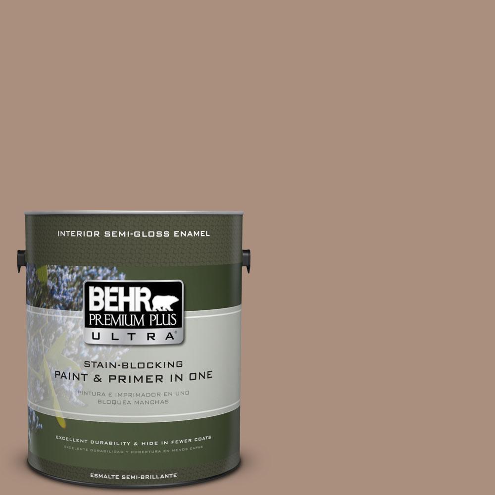 BEHR Premium Plus Ultra 1-gal. #BNC-13 Cozy Cocoa Semi-Gloss Enamel Interior Paint